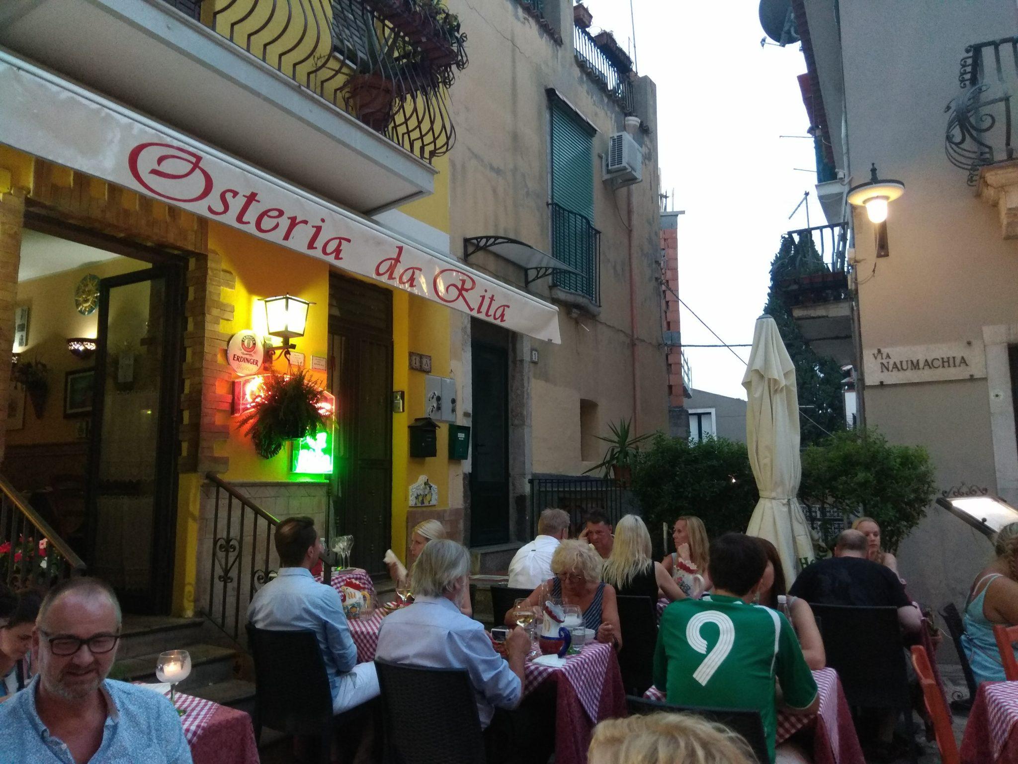 Img post Osteria da Rita. Comer en Taormina - Pasaporte y Millas