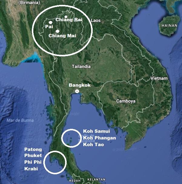 Img post mapa Tailandia. Errores que cometimos en Tailandia- Pasaporte y Millas